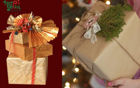 Kalėdinis dovanų pakavimas