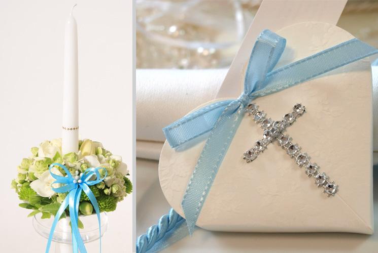 Gėlėtos krikšto žvakės