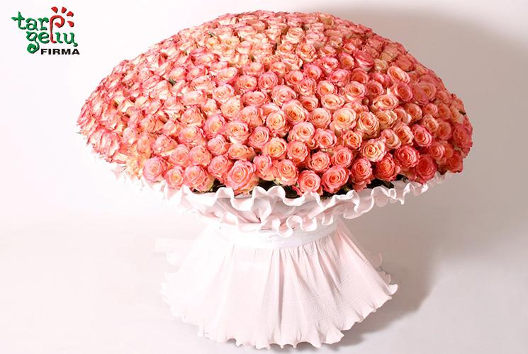 Puokštė iš 400 rožių