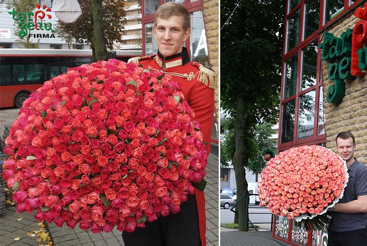 Milžiniškos rožių puokštės