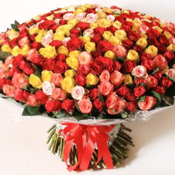 Kaip atpažinti, kad milžinišką rožių puokštę rišo profesionalas