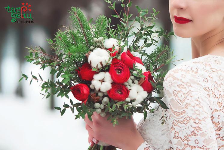 Žiemiškų vestuvių gėlynas. Koja kojon su mada