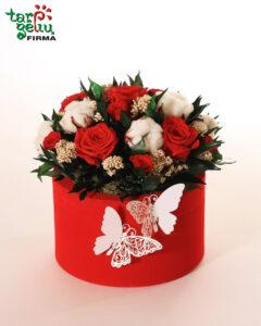 Dėžutė su miegančiomis rožėmis